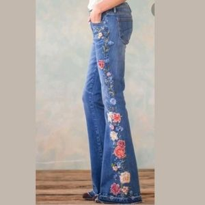Free People Pants - Free People Driftwood Embroidered Farrah Flares